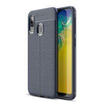 Samsung Galaxy A20e Szilikon Tok Bőrmintázattal TPU Prémium Sötétkék