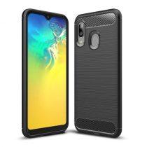 Samsung Galaxy A20e Szilikon Tok Ütésállókivitel Karbon Mintázattal Fekete