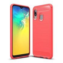Samsung Galaxy A20e Szilikon Tok Ütésállókivitel Karbon Mintázattal Piros