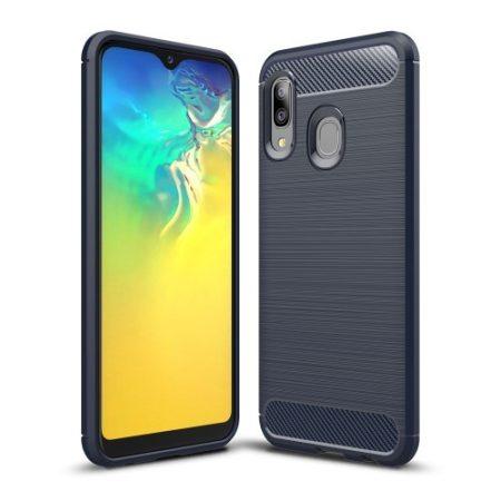 Samsung Galaxy A20e Szilikon Tok Ütésállókivitel Karbon Mintázattal Sötétkék