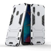 Samsung Galaxy A20e 2in1 Tok Ütésálló - Kitámasztható TPU Hybrid Ezüst