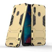Samsung Galaxy A20e 2in1 Tok Ütésálló - Kitámasztható TPU Hybrid Arany