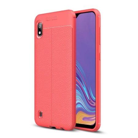 Samsung Galaxy A10 Szilikon Tok Bőrmintázattal TPU Prémium Piros