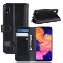 Samsung Galaxy A10 Bőrtok Notesz Kártyatartóval Kitámasztható Fekete