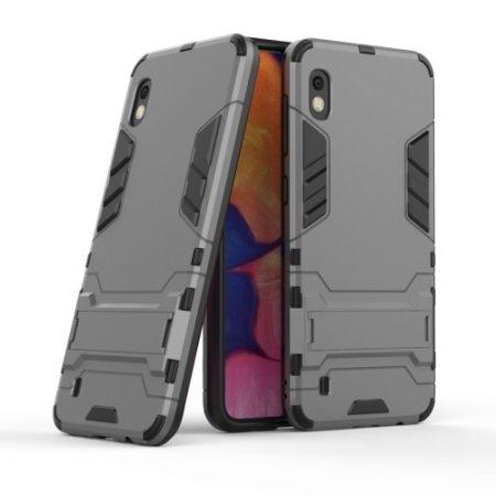 Samsung Galaxy A10 2in1 Tok Ütésálló - Kitámasztható TPU Hybrid Szürke