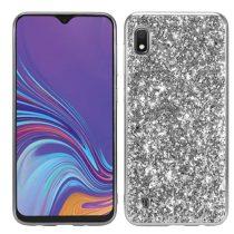 Samsung Galaxy A10 TPU Csillámló Szilikon Tok Glitteres Fényes Ezüst