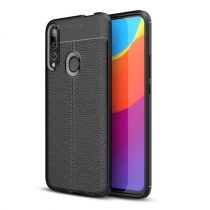 Huawei P Smart Z Szilikon Tok Bőrmintázattal TPU Prémium Fekete