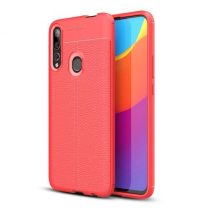 Huawei P Smart Z Szilikon Tok Bőrmintázattal TPU Prémium Piros
