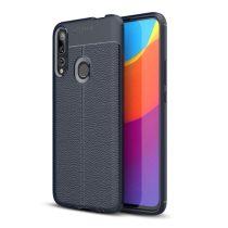 Huawei P Smart Z Szilikon Tok Bőrmintázattal TPU Prémium Sötétkék