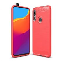 Huawei P Smart Z Szilikon Tok Ütésállókivitel Karbon Mintázattal Piros