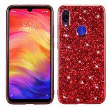Xiaomi Redmi Note 7 TPU Csillámló Szilikon Tok Glitteres Fényes Piros