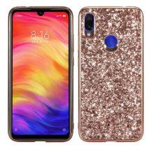 Xiaomi Redmi Note 7 TPU Csillámló Szilikon Tok Glitteres Fényes Rózsaarany