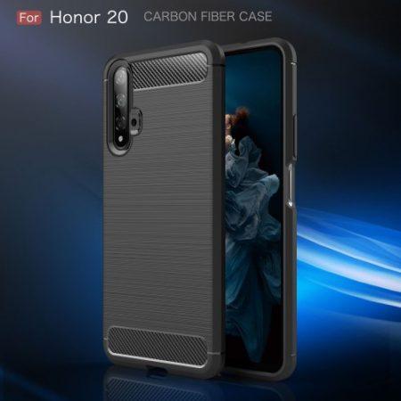Huawei Honor 20 Szilikon Tok Ütésállókivitel Karbon Mintázattal Fekete