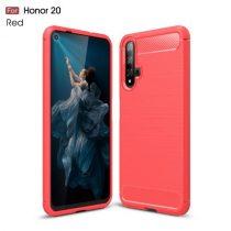 Huawei Honor 20 Szilikon Tok Ütésállókivitel Karbon Mintázattal Piros