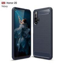 Huawei Honor 20 Szilikon Tok Ütésállókivitel Karbon Mintázattal Sötétkék