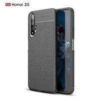 Huawei Honor 20 Szilikon Tok Bőrmintázattal TPU Prémium Fekete