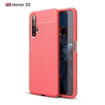 Huawei Honor 20 Szilikon Tok Bőrmintázattal TPU Prémium Piros
