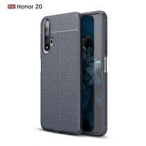 Huawei Honor 20 Szilikon Tok Bőrmintázattal TPU Prémium Sötétkék