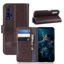 Huawei Honor 20 Bőrtok Notesz Kártyatartóval Kitámasztható Barna