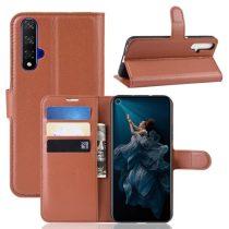 Huawei Honor 20 Notesz Tok Business Series Kitámasztható Bankkártyatartóval Barna