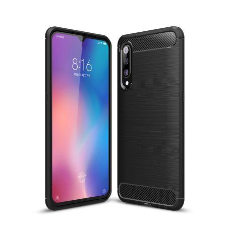 Xiaomi Mi 9 Szilikon Tok Ütésállókivitel Karbon Mintázattal Fekete