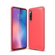 Xiaomi Mi 9 Szilikon Tok Ütésállókivitel Karbon Mintázattal Piros
