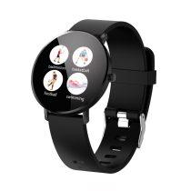 F25 Color Series Smart Watch Okosóra Bőrszíj - Fitness Funkció, Alvásfigyelő, Lépésszámláló - Fekete