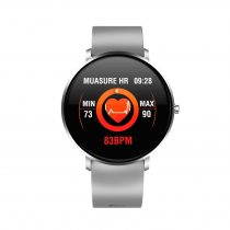 F25 Color Series Smart Watch Okosóra Bőrszíj - Fitness Funkció, Alvásfigyelő, Lépésszámláló - Szürke/Ezüst