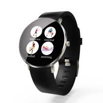 F25 Color Series Smart Watch Okosóra Bőrszíj - Fitness Funkció, Alvásfigyelő, Lépésszámláló - Fekete/Ezüst