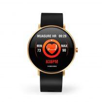 F25 Color Series Smart Watch Okosóra Bőrszíj - Fitness Funkció, Alvásfigyelő, Lépésszámláló - Fekete/Arany