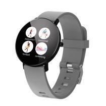 F25 Color Series Smart Watch Okosóra Bőrszíj - Fitness Funkció, Alvásfigyelő, Lépésszámláló - Szürke/Fekete