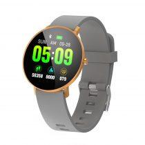 F25 Color Series Smart Watch Okosóra Bőrszíj - Fitness Funkció, Alvásfigyelő, Lépésszámláló - Szürke/Arany
