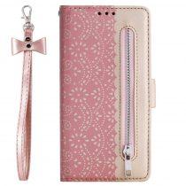 RMPACK Xiaomi Redmi Note 8 Bankkártyatartóval Notesz Csipke - Lace Flower Minta Rózsaszín
