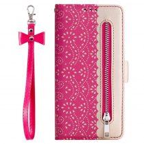 RMPACK Xiaomi Redmi Note 8 Bankkártyatartóval Notesz Csipke - Lace Flower Minta Pink
