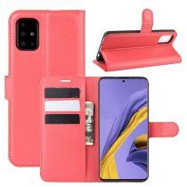 RMPACK Samsung Galaxy A51 Notesz Tok Business Series Kitámasztható Bankkártyatartóval Piros
