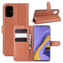 RMPACK Samsung Galaxy A51 Notesz Tok Business Series Kitámasztható Bankkártyatartóval Barna