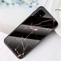 RMPACK Samsung Galaxy A51 Tok Fashion Ütésálló Márvány Mintás + Tempered Glass Hátlapi Üveg A01