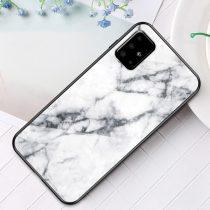 RMPACK Samsung Galaxy A51 Tok Fashion Ütésálló Márvány Mintás + Tempered Glass Hátlapi Üveg A03