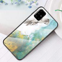 RMPACK Samsung Galaxy A51 Tok Fashion Ütésálló Márvány Mintás + Tempered Glass Hátlapi Üveg A05
