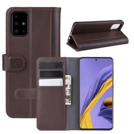 RMPACK Samsung Galaxy A51 Bőrtok Notesz Kártyatartóval Kitámasztható Barna
