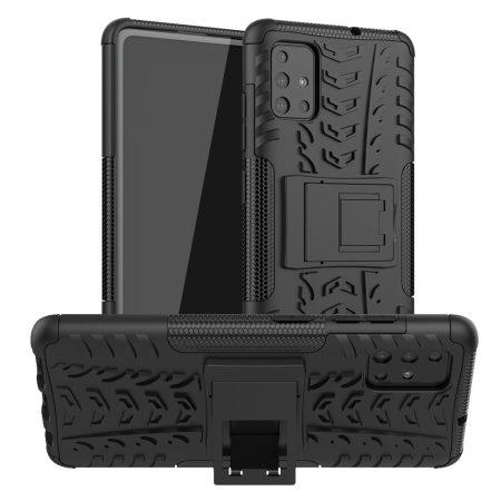 RMPACK Samsung Galaxy A51 Ütésálló Tok Kitámasztható 2in1 Hybrid Fekete