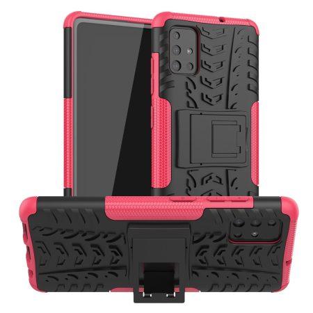 RMPACK Samsung Galaxy A51 Ütésálló Tok Kitámasztható 2in1 Hybrid Pink