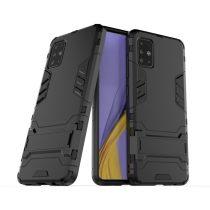 RMPACK Samsung Galaxy A51 2in1 Tok Ütésálló - Kitámasztható TPU Hybrid Fekete