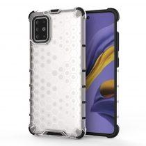 RMPACK Samsung Galaxy A51 Shock-Proof Szilikon Tok Ütésálló Kivitel Honeycomb Style Fehér