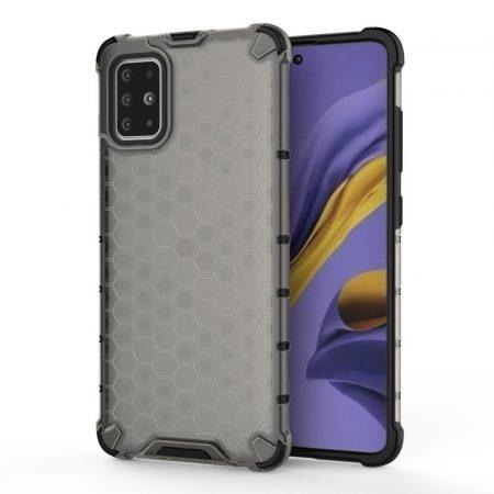 RMPACK Samsung Galaxy A51 Shock-Proof Szilikon Tok Ütésálló Kivitel Honeycomb Style Szürke