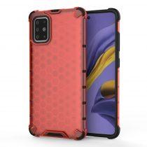 RMPACK Samsung Galaxy A51 Shock-Proof Szilikon Tok Ütésálló Kivitel Honeycomb Style Piros