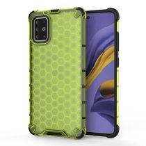 RMPACK Samsung Galaxy A51 Shock-Proof Szilikon Tok Ütésálló Kivitel Honeycomb Style Zöld