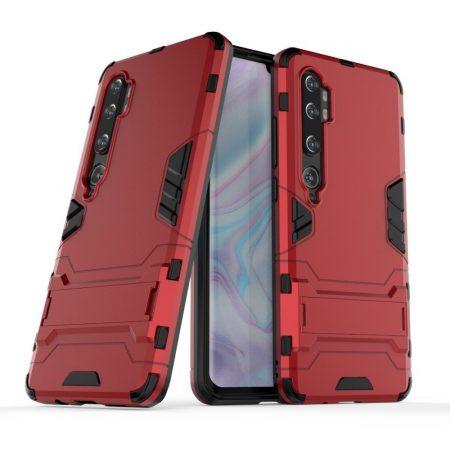 RMPACK Xiaomi Mi Note 10 / Mi Note 10 Pro 2in1 Tok Ütésálló - Kitámasztható TPU Hybrid Piros
