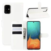 RMPACK Samsung Galaxy A71 Notesz Tok Business Series Kitámasztható Bankkártyatartóval Fehér