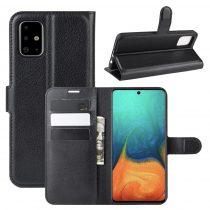 RMPACK Samsung Galaxy A71 Notesz Tok Business Series Kitámasztható Bankkártyatartóval Fekete